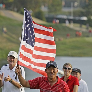 Anthony Kim celebrates after Team USA's victory at the 2008 Ryder Cup.