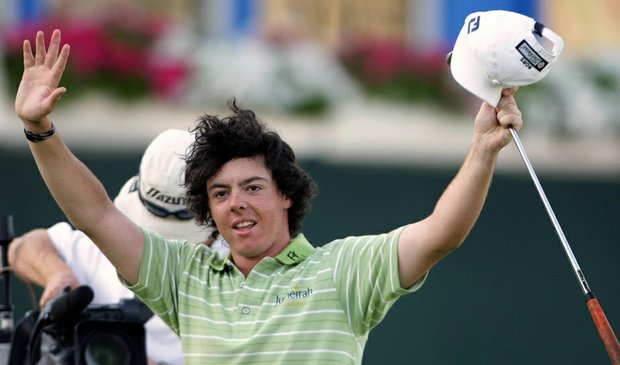 Rory McIlroy celebrates after winning the 2009 Dubai Desert Classic.
