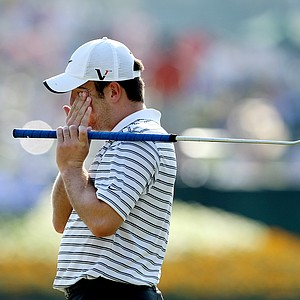Francesco Molinari, reacts to his putt at No. 16 after it stops on the edge of the cup during Saturday's round. Molinari shot a 71.