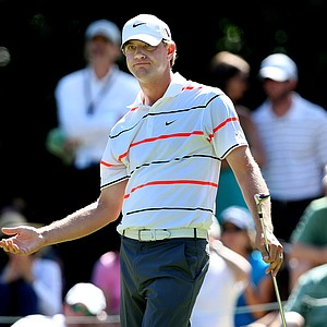 Lucas Glover reacts to his tee shot at No. 8. Glover finished T3 for the tournament.