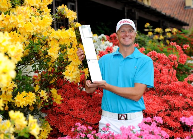 Fredrik Andersson Hed poses with the trophy after winning the Italian Open.