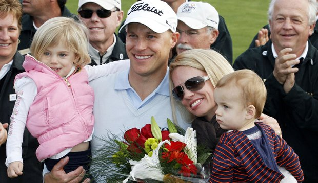 Ben and Heather Crane with daughter Cassidy and son Brady after the Farmers Insurance Open in January.