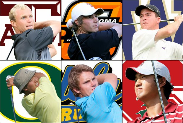 (Clockwise, from top left) Texas A&M's John Hurley, Oklahoma State's Peter Uihlein, Washington's Nick Taylor, Stanford's Sihwan Kim, UCLA's Pontus Widegren and Oregon's Eugene Wong.