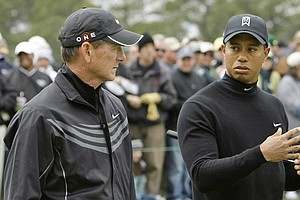 Hank Haney and Tiger Woods at the 2009 Masters.