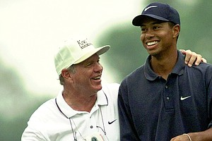 Tiger Woods and Butch Harmon at the 1997 PGA Championship.