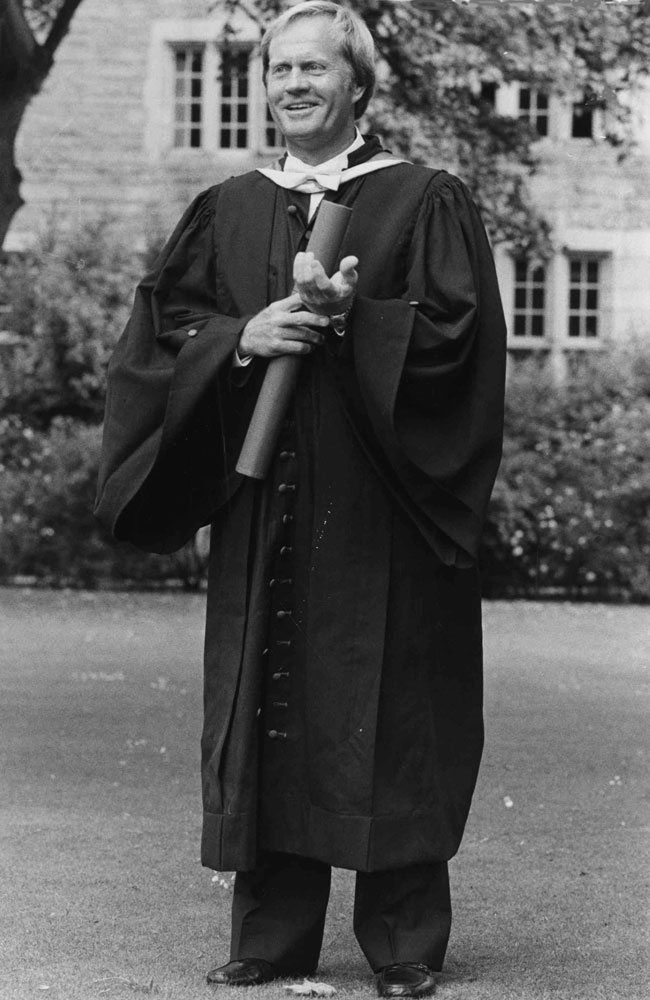 Jack Nicklaus received an Honorary Degree of Doctor of Law at a graduation ceremony at St. Andrews University on July 17, 1984.