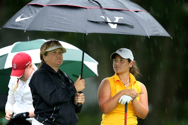 Florida State head coach Kate Golden with player Jessica Negron at the 10th tee. Lightning delayed the start of Florida State's second round.