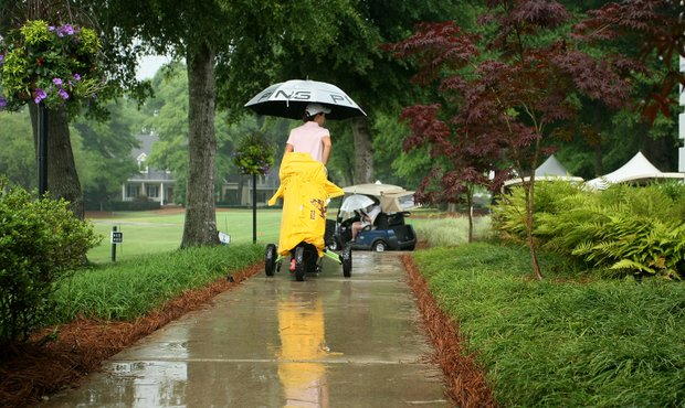 Arizona State's Carlota Ciganda leaves the course during the second weather delay of the second round.