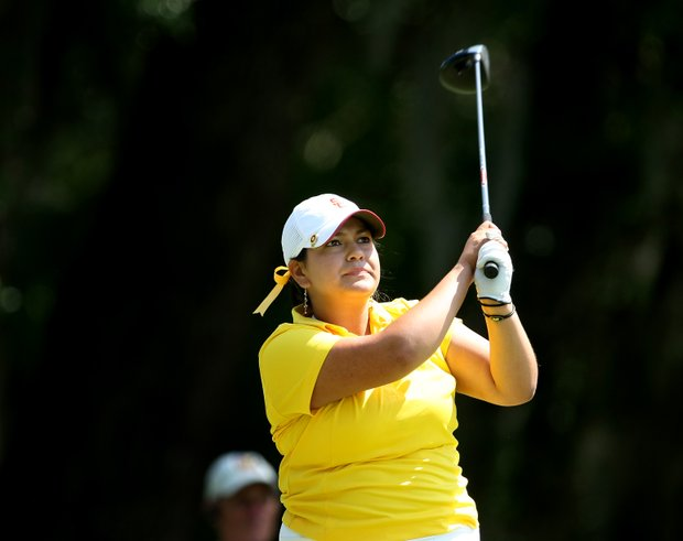 USC's Lizette Salas at the first tee on Thursday.
