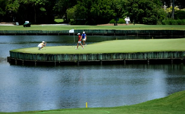 A view of hole No. 2, which has been the downfall of a couple of teams this week.