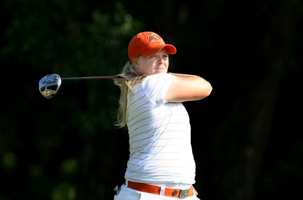 Oklahoma State's Caroline Hedwall tees off at No. 1.