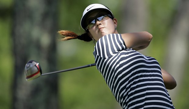 Michelle Wie tees off at the Sybase Match Play Championship.
