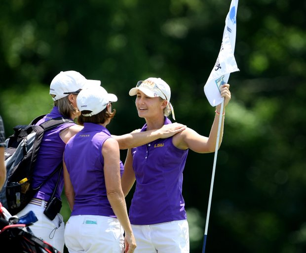 LSU's Megan McChrystal shot a NCAA Championship record 64 on Friday.