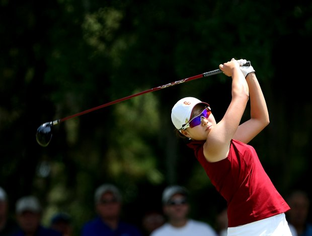 USC's Jennifer Song tees off during the final round.