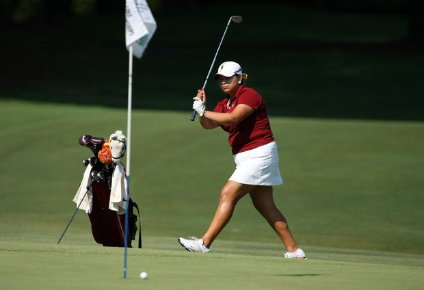 USC's LIzette Salas nearly holes out at No. 11.