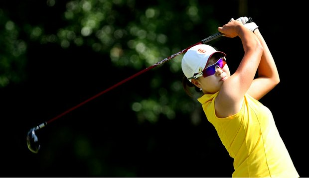 Southern California's Jennifer Song tees off during the third round of the NCAA Women's Championship.