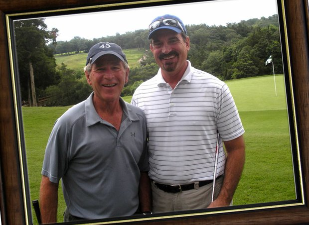 Former President George W. Bush (left) and Golfweek's Jeff Rude.