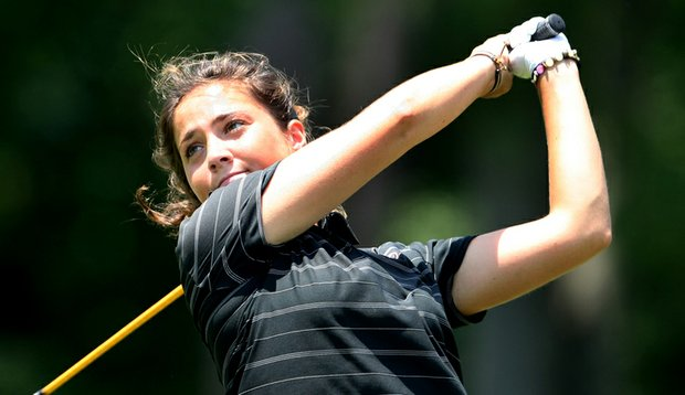 Marta Silva Zamora hits a shot at the NCAA Women's Championship.