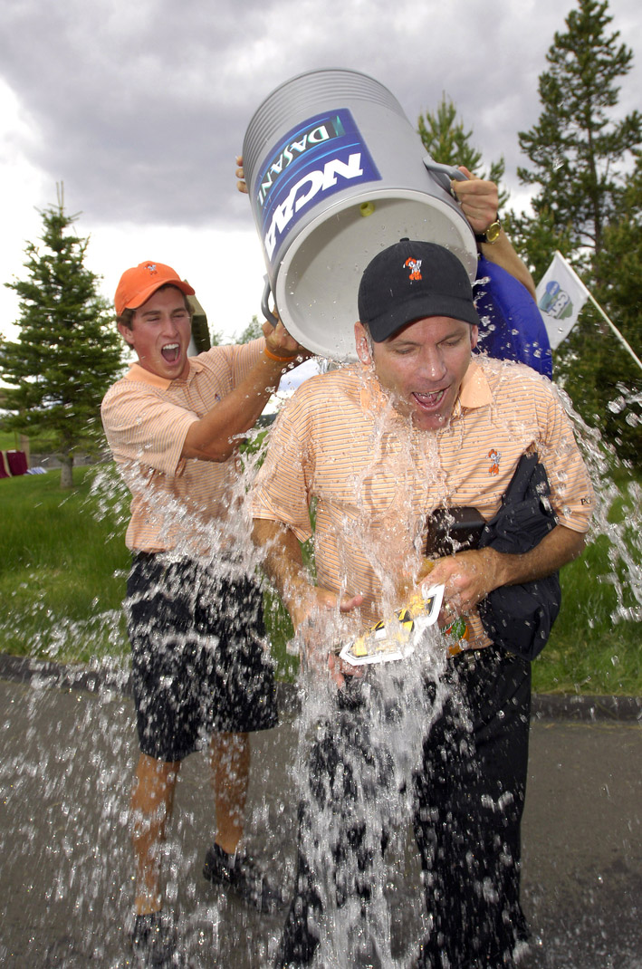 Oklahoma State coach Mike McGraw gets doused after the Cowboys won the 2006 NCAA Championship.