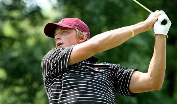 Arizona State's Jesper Kennegard tees off on the first hole during the first round of the NCAA Championship.