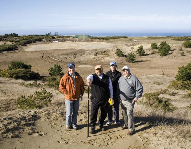 From left, Tom Doak and Jim Urbina with consultants Bradley S. Klein and George Bahto on site at Bandon.