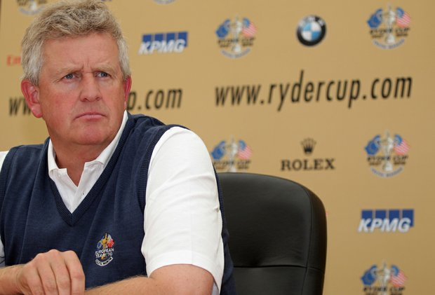 Colin Montgomerie addresses the media during a Ryder Cup press conference at the Celtic Manor Wales Open on June 2.