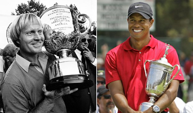 Jack Nicklaus won the 1980 PGA Championship (left) and Tiger Woods won the 2008 U.S. Open.