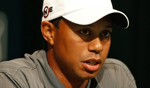 Tiger Woods speaks with the media before the Memorial Skins Game prior to the start of the 2010 Memorial Tournament.