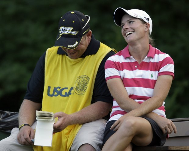 Jean Reynolds jokes with caddie Paul Maggiore during the second round of the 2009 U.S. Women's Open.