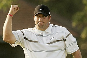 Jason Gore at the 2005 U.S. Open at Pinehurst. Gore was struggling big time last year until a victory at the Miccosukee Championship. Before that win in mid-October, he hadn't posted a top-25 in 27 PGA and Nationwide events. Gore is playing some decent golf to start 2011. He tied for 29th at the Bob Hope Classic and Monday qualified for both the Farmers Insurance Open (T-77) and Northern Trust Open (#). He'll have past champion's status on the PGA Tour, but will likely make the majority of his starts on the Nationwide Tour.