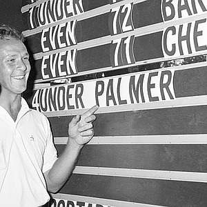 The final scores at Cherry Hills left Arnold Palmer pumped up at the 1960 U.S. Open.