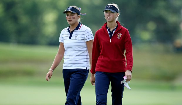 Alexis Thompson, left, and Jessica Korda during the Friday morning foursomes of the Curtis Cup.