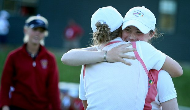 Great Britain & Ireland's Lisa Maguire kept her team 1 up during the Curtis Cup four-ball matches on Friday.