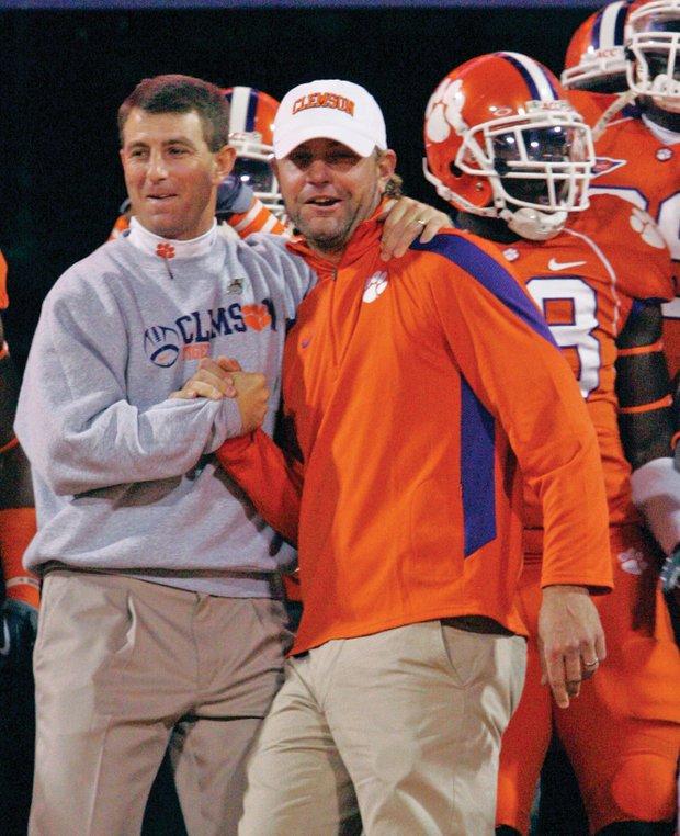 Glover with Clemson football coach Dabo Swinney.