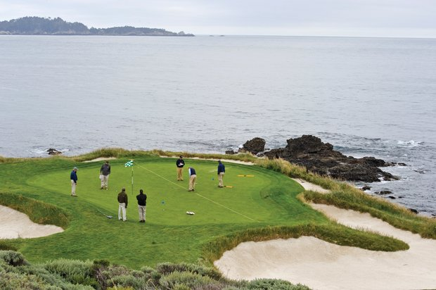 Mike Davis and his team test Pebble's seventh green in advance of the U.S. Open.