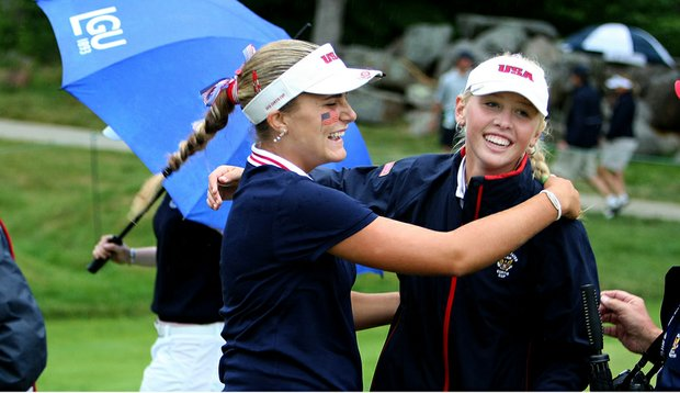 Team USA's Alexis Thompson (left) hugs Jessica Korda after a match at the Curtis Cup.