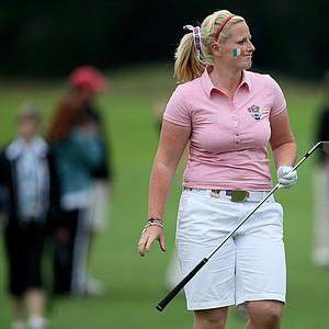 GB&I's Holly Clyburn expresses her disappointment at the ninth hole in afternoon foursomes on Day 2 of the Curtis Cup.