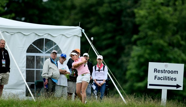 GB&I's Hannah Barwood found trouble near No. 9. Barwood and partner Holly Clyburn lost their four-ball match against Jennifer Song and Stephanie Kono of Team USA.
