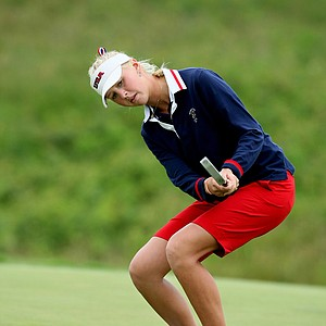 Jessica Korda of Team USA watches a putt at the ninth hole in Day 2 foursomes.