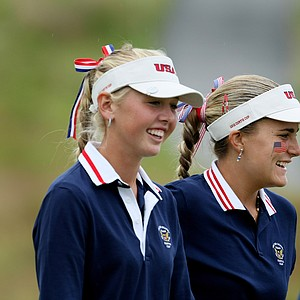 Jessica Korda and Alexis Thompson won their morning four-ball match over GB&I's Danielle McVeigh and Pamela Pretswell, 2 and 1, in Day 2 of the Curtis Cup.