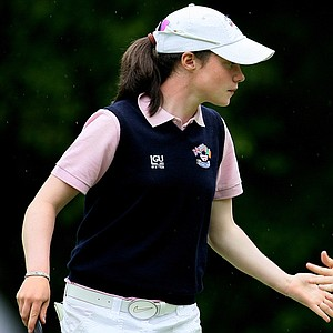 GB&I's Leona, left, and Lisa Maguire during morning four-ball matches in Day 2  of the Curtis Cup.