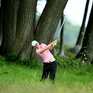 GB&I's Sally Watson hits a shot from the left rough at No. 18 during Day 2 four-ball matches.