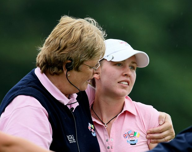 GB&I captain Mary McKenna consoles Sally Watson after her four-ball loss during Day 2.