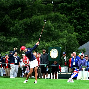 Team USA's Jennifer Song tees off at No. 1 at the start of the singles matches on Sunday.