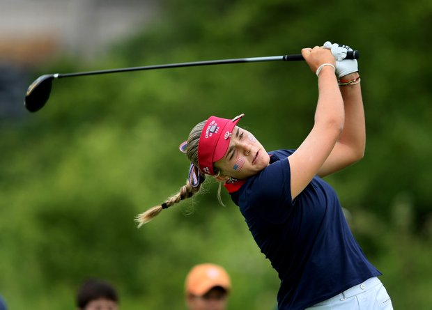 Team USA's Alexis Thompson during the singles matches of the 2010 Curtis Cup at Essex County Club.