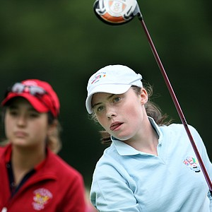 GB&I's Lisa Maguire won 1 up over USA's Kimberly Kim. She watches her tee shot at No. 4.