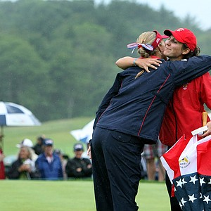 Team USA's Alexis Thompson and Jennifer Johnson celebrate clinching the first two points to secure the Curtis Cup.