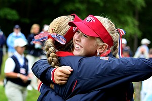 Team USA's Jessica Korda and Alexis Thompson hug after beating GB&I 12.5 vs. 7.5 retain the Curtis Cup.