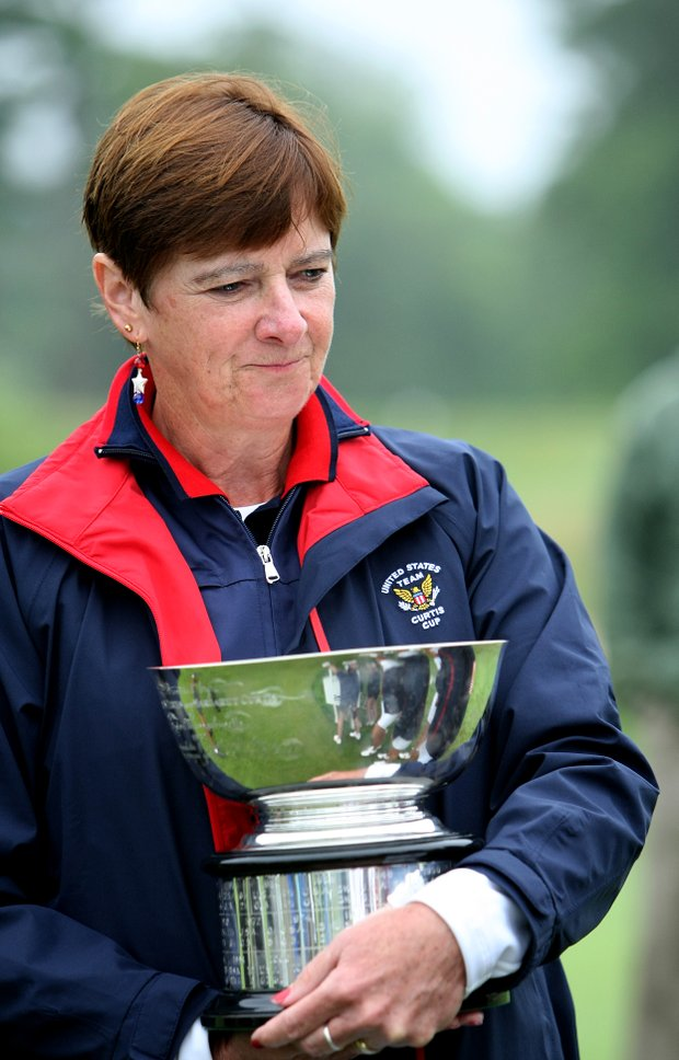 Team USA captain Noreen Mohler holds the Curtis Cup during the closing ceremonies at Essex County Club.
