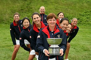 Team USA with the Curtis Cup trophy at the 2010 Curtis Cup. Team USA beat GB&I 12.5 vs. 7.5